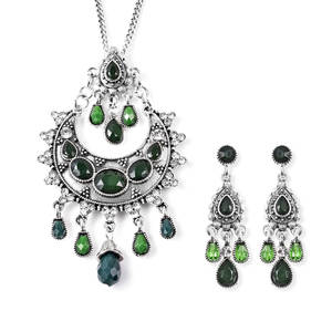 Nefertiti's Treasure Green Glass, Green Chroma, White Austrian Crystal Silvertone Earrings and Necklace (22 in)