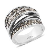 Swiss Marcasite Stainless Steel Elongated Puzzle Ring (Size 8.0) TGW 0.50 cts.