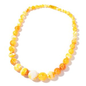 Simulated Butterscotch Amber Beads Necklace (22 in)