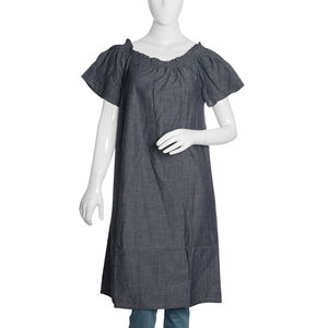 Dark Denim Short Tunic with Smocked Effect Shoulder-Size 16