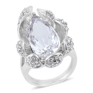 Simulated White Diamond, White Austrian Crystal Stainless Steel Ring (Size 7.0) TGW 9.24 cts.