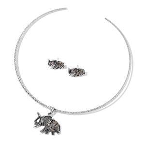 Swiss Marcasite Stainless Steel Elephant Earrings and Pendant With Collar Necklace (16 in) TGW 0.93 cts.