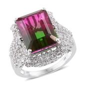 Watermelon Quartz, White Topaz Platinum Over Sterling Silver Ring (Size 6.0) TGW 16.30 cts.