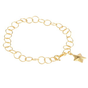 14K YG Over Sterling Silver Diamond Cut Star Bracelet (7.00 In) (2.7 g)
