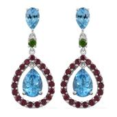 Marambaia Topaz, Orissa Rhodolite Garnet, Russian Diopside Platinum Over Sterling Silver Earrings TGW 10.16 cts.