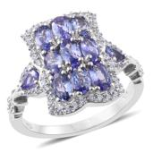Tanzanite, Cambodian Zircon Platinum Over Sterling Silver Ring (Size 6.0) TGW 3.13 cts.