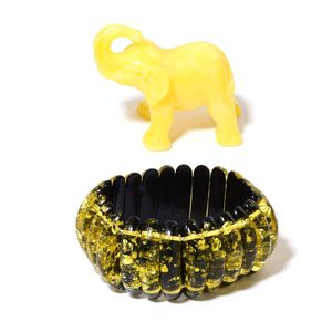 Yellow and Black Chroma Bracelet (Adjustable) and Decorative Elephant (1.5in)