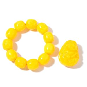 Yellow Beads Bracelet (Adjustable) and Decorative Paper Weight Buddha (1.5in)