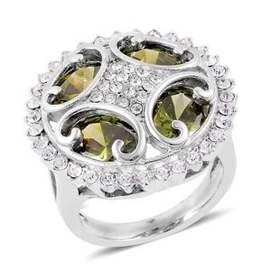 Simulated Green Diamond, White Austrian Crystal Stainless Steel Ring (Size 8.0) TGW 6.25 cts.