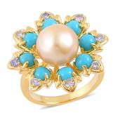 South Sea Golden Pearl, Arizona Sleeping Beauty Turquoise, Tanzanite 14K YG Over Sterling Silver Ring (Size 8.0) TGW 1.95 cts.
