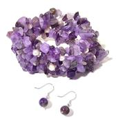 Amethyst Chips, Freshwater Pearl Sterling Silver Bracelet (Stretchable) and Earrings TGW 279.00 cts.