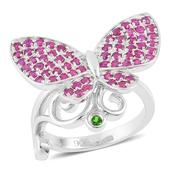 Russian Diopside, Ruby Sterling Silver Spinning Butterfly Ring (Size 8.0) TGW 1.50 cts.
