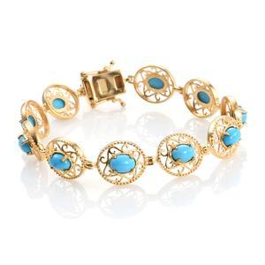 Arizona Sleeping Beauty Turquoise 14K YG Over Sterling Silver Openwork Bracelet (7.50 In) TGW 8.00 cts.