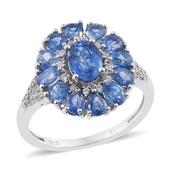 Himalayan Kyanite, Cambodian Zircon Platinum Over Sterling Silver Ring (Size 7.0) TGW 3.73 cts.