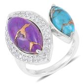 Inspire by Liz Fuller, Freedom Collection Adventure Mojave Purple and Blue Turquoise, White Topaz 935 Argentium Sterling Silver Ring (Size 6.0) TGW 6.57 cts.