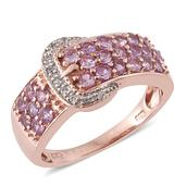 Mauve Sapphire, Cambodian Zircon 14K RG Over Sterling Silver Buckle Ring (Size 8.0) TGW 1.68 cts.