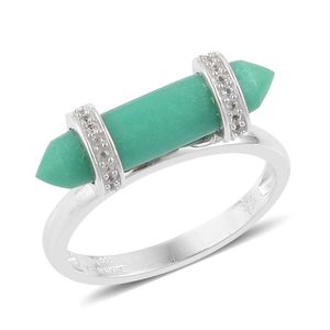 Inspire by Liz Fuller, Abundance Collection Strength Australian Chrysoprase, White Topaz 935 Argentium Sterling Silver Ring (Size 7.0) TGW 5.51 cts.