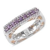 Mauve Sapphire, Cambodian Zircon 14K YG and Platinum Over Sterling Silver Euro Ring (Size 5.0) TGW 1.29 cts.