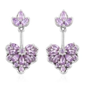 Mauve Sapphire Platinum Over Sterling Silver Heart Earrings TGW 2.85 cts.