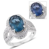 Color Change Fluorite, Cambodian Zircon Platinum Over Sterling Silver Split Ring (Size 10.0) TGW 8.05 cts.