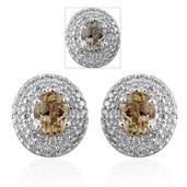 14K WG Turkizite, Diamond Stud Earrings TDiaWt 0.46 cts, TGW 1.98 cts.