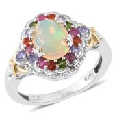 Ethiopian Welo Opal, Multi Gemstone 14K YG and Platinum Over Sterling Silver Ring (Size 7.0) TGW 2.86 cts.