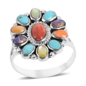 Santa Fe Style Mojave Purple Turquoise, Multi Gemstone Sterling Silver Ring (Size 8.0) TGW 3.65 cts.