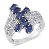 Himalayan Kyanite, Cambodian Zircon Platinum Over Sterling Silver Ring (Size 8.0) TGW 3.95 cts.