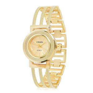 STRADA Japanese Movement Water Resistant Bracelet Watch in Goldtone with Stainless Steel Back