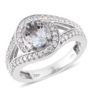 Espirito Santo Aquamarine, Cambodian Zircon Platinum Over Sterling Silver Ring (Size 7.0) TGW 2.56 cts.