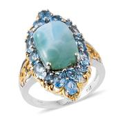 Sea Mist Larimar, Electric Blue Topaz 14K YG and Platinum Over Sterling Silver Ring (Size 8.0) TGW 11.26 cts.