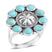 Santa Fe Style Turquoise Sterling Silver Ring (Size 10.0) TGW 2.05 cts.