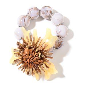 Beige Chroma, Jasper Flower Bracelet (Stretchable) TGW 30.00 cts.