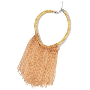 Goldtone and Silvertone Fringe Choker on Faux Leather Braided Strand (18 in)