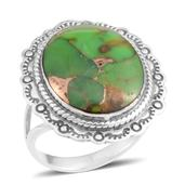 Santa Fe Style Mojave Green Turquoise Sterling Silver Split Ring (Size 7.0) TGW 3.75 cts.