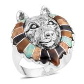 Santa Fe Style Multi Gemstone Sterling Silver Wolf Head Men's Ring (Size 14.0) TGW 3.25 cts.