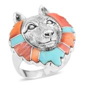 Santa Fe Style Mojave Blue Turquoise, Muli Color Spiney Oyster Shell Sterling Silver Wolf Head Men's Ring (Size 13.0) TGW 1.32 cts.