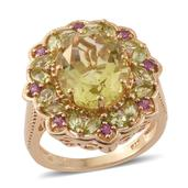 Ouro Verde Quartz, Multi Gemstone 14K YG Over Sterling Silver Ring (Size 10.0) TGW 7.86 cts.