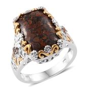 Dino Bone, Jenipapo Andalusite 14K YG and Platinum Over Sterling Silver Floral Ring (Size 7.0) TGW 13.86 cts.