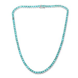 Arizona Sleeping Beauty Turquoise Platinum Over Sterling Silver Necklace (18 in) TGW 28.48 cts.