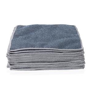 Set of 20 Double Sided Microfiber and Scratch Fiber Dish Cloth (10x10 in)-Gray
