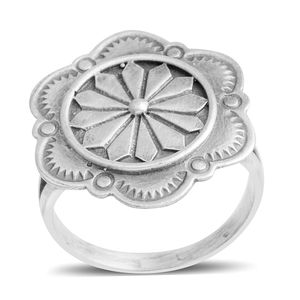Santa Fe Style Sterling Silver Flower Split Ring (Size 7.0)