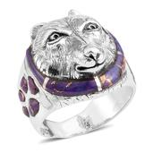 Santa Fe Style Mojave Purple Turquoise Sterling Silver Wolf Ring (Size 6.0) TGW 2.50 cts.