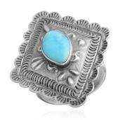 Santa Fe Style Turquoise Sterling Silver Ring (Size 9.0) TGW 1.35 cts.