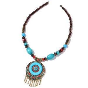 Blue Resin, Wooden Beads Goldtone Necklace (23 in) TGW 100.00 cts.