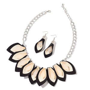 White Chroma Stainless Steel Fabric Earrings and Bib Necklace (20 in)