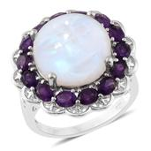 Sri Lankan Rainbow Moonstone, Amethyst Platinum Over Sterling Silver Ring (Size 7.0) TGW 15.90 cts.