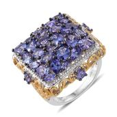 Tanzanite 14K YG and Platinum Over Sterling Silver Cluster Ring (Size 6.0) TGW 7.25 cts.