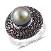 Tahitian Pearl, Thai Black Spinel Platinum Over Sterling Silver Ring (Size 6.0) TGW 1.50 cts.