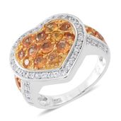Orange Sapphire, Cambodian White Zircon 14K YG Over Sterling Silver Ring (Size 10.0) TGW 2.43 cts.